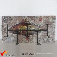 Étagère d'exposition vintage Ensemble de vaisselle suspendue murale