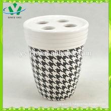 YSb40017-01-th Hot sale decal yongsheng ceramic bath accessory toothbrush holder
