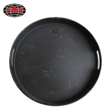 Rusty Black Round Plastic Tray