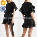 Свободная посадка с коротким рукавом черный Раффлед постельное белье мини летнее платье Производство Оптовая продажа женской одежды (TA0258D)