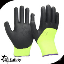 SRSAFETY 13G Nylon Knitted sandy finished palm nitrile 3/4 coated gloves/Nitrile Coating Glove