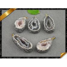 Venta caliente Druzy Ágata Colgantes Joyería, Geode Drusy Hollow Collar De Perlas (EF0100)