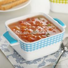 utensilios de cocina de cerámica con empuñaduras de silicona resistente al calor