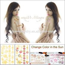 La última etiqueta engomada del tatuaje de la piel del cuerpo que cambia el color en el sol BS-8031