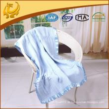 China 100% Baumwollgewebe Uni Farbe Muslin Swaddle Großhandel Baby Decke