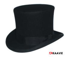 customizable 18 cm high wool felt black top hat