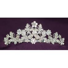 Flor de descuento de diseño Brillante corona nupcial de cristal Tiara de encargo de la boda
