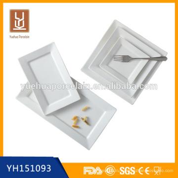 Дешевые конкурентоспособные белый фарфор квадратный и прямоугольный набор пластин