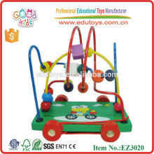 Cartoon Wooden Toys Frog Rack Beads Cart