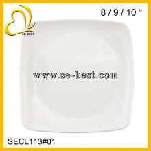 Assiette carrée en mélamine blanche solide, assiette carrée en mélamine, assiette plate