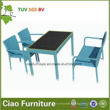 Chaise en osier extérieure de meubles de rotin en gros et table avec le bois en plastique