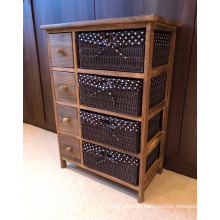 Brown Chest of Drawers Shabby Chic Storage Unit Wicker Baskets Dark Wood Cabinet