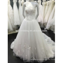High Quality Embroidery Tullle Fashion Lace Applique Tulle Skirt Lace-Up Back Vestidos Wedding Dresses 2016 New Arrival P1000