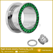 Chirurgisches Edelstahl 316 Epoxy beschichtet Multi-Juwelen Jewelled Ear Tunnel Piercing