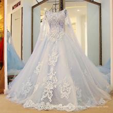 RP88712 Real pesado com contas longas com capuz vintage removível wrap vestido de noiva princesa de gelo