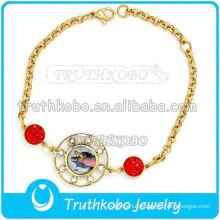 Christ Epoxy Medal Bracele Stainless Steel Gold Bracelet Wholesale St. Benedict Holy Bracelet Our Lady of Guadalupe Bracelet