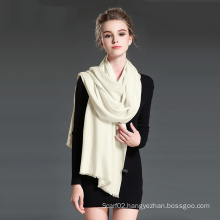 Female White Twill Wool Scarf