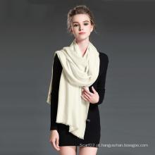 Cachecol feminino de lã de sarja branca