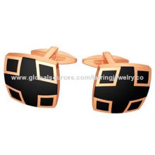 Noble men's cufflinks, PVD rose-gold color, enamel black color, stainless steel material