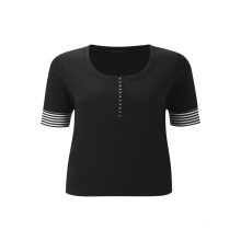Favorites Compare Promo Eco-Friendly Women O-Neck Middle Long Sleeve Black T-Shirt