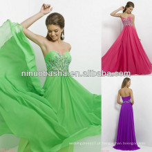 NW-453 Jóias e Prata Beads Drape Up Bodice Evening Dress Prom Gown 2014