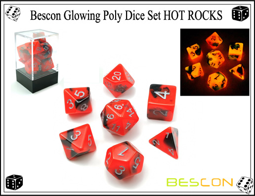 Bescon Glowing Poly Dice Set HOT ROCKS-1