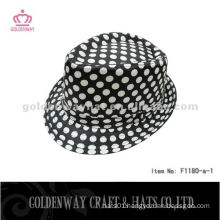 Black Fedora Hat With White Dots for men F1180-a professional hats factory supply