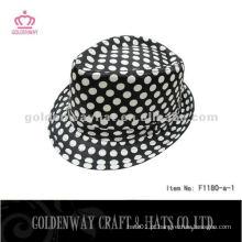 Black Fedora Hat com pontos brancos para homens F1180 - uma fonte de fábrica de chapéus profissionais