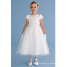 A-Line/Princess Scoop Neck cap sleeves Ankle-Length Organza Flower Girl Dress With Bow(s) Cascading Ruffles