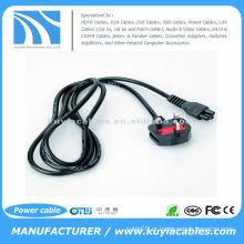 Cabo de alimentação de 3 pinos AC UK Power Cable 3Pin adaptador para laptop