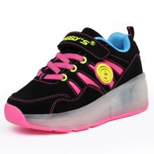 Comércio Exterior Rosa Sapatos De Desporto LED Light Roller Skate Sneakers para crianças com rodas Retrátil LED Roller Skate Shoes Running