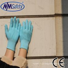 NMSAFETY 13 gauge malha azul forro de nylon luvas de trabalho