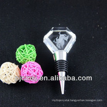 3d laser engrave crystal diamon shaped glass wine stopper