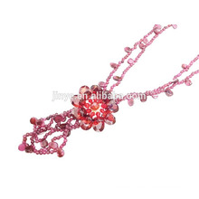 Handmade Red Multi Layer Zirconia Flower pendant Garnet Necklace