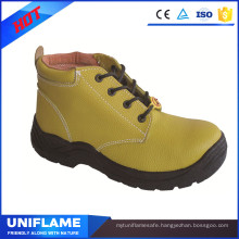Yellow Embossed Leather Upper Safety Shoes