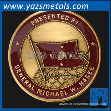 fertigen Sie Metallmünzen besonders an, kundenspezifische Qualitätsmarine Messingkommandantenmünze mit Antike und Emaillefinish