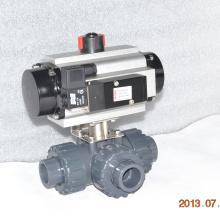 Válvula de bola plástica de 3 vías UPVC con actuador neumático