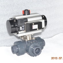 3way UPVC plastic ball valve with pneumatic actuator