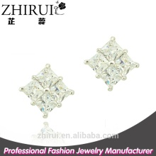 silver jewelry latest model fashion square cubic zirconia earrings