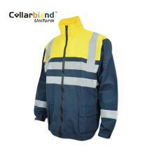 Manteau réfléchissant uniforme fluorescent d'hiver à manches longues