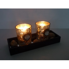 Glass Votive Holder Set of 2 with Wooden Frame