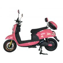 Lámpara LED frontal con scooter eléctrico de color rosa