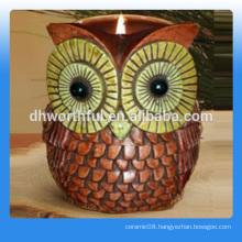 High quality owl ceramic candle jar