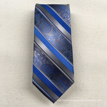 Business Wholesale Your Own Brand Sliver Floral Stripe Woven Jacquard Silk Tie