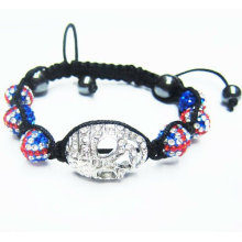 UK Flag Shamballa Bracelets Skull Heads Crystal String Ball Bracelet