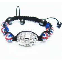 UK Bandeira Shamballa Pulseiras Crânio Cabeças Cristal String Ball Bracelet