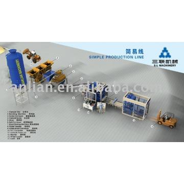 Linha de produção simples (máquina de bloqueio, máquina de tijolos, máquina de fazer tijolos)