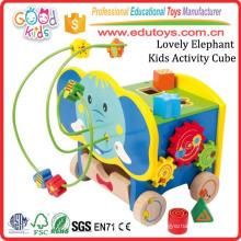 Pintado de madera de colores perlas Maze Play Center Elefante lindo niños actividad cubo