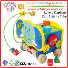 Painted Colorful Wooden Beads Maze Play Center Lovely Elephant Kids Activity Cube