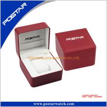 Elegante caja de reloj de cuero negro de lujo de diseño de alta calidad